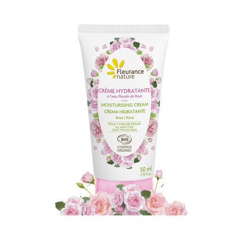 crème hydratante visage à l'eau florale de rose cosmétique bio